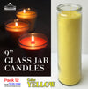 "#TLC9-YLW 9"" Glass Jar Candles- Yellow (case pack 12 pcs)"
