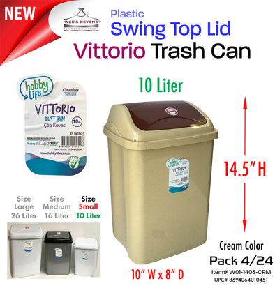 #W01-1403-CRM Vittorio Trash Can Small 10 Liter Cream (case pack 12 pcs/ case pack 24 pcs)