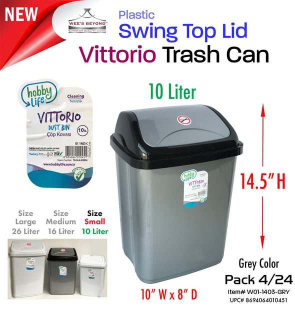 #W01-1403-GRY Vittorio Trash Can Small 10 Liter Grey (case pack 12 pcs/ case pack 24 pcs)
