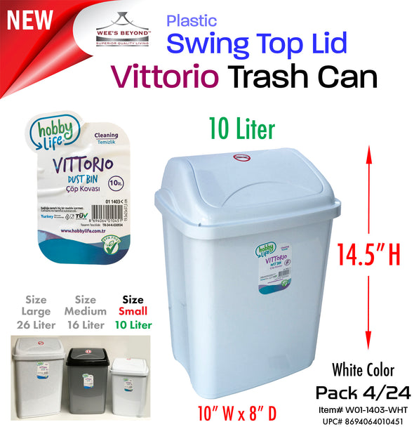 #W01-1403-WHT Vittorio Trash Can Small 10 Liter White (case pack 12 pcs/ case pack 24 pcs)