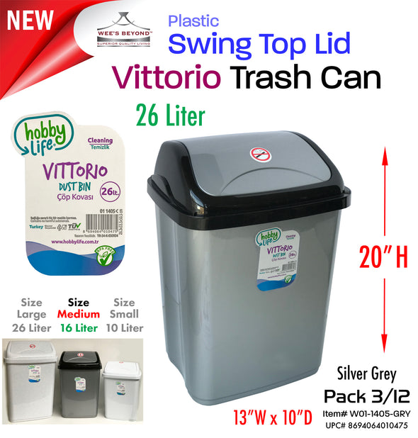 #W01-1405 Vittorio Trash Can Large 26 Liter Grey (case pack 12 pcs)