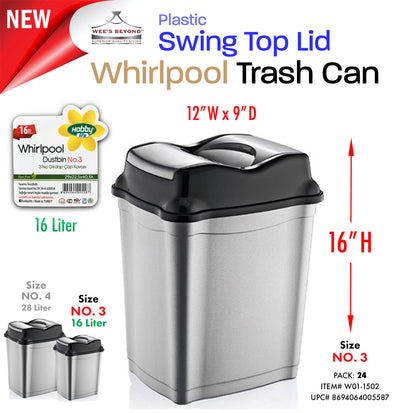 #W01-1502 Swing Top Dust Bin 16 Lt (case pack 24 pcs)