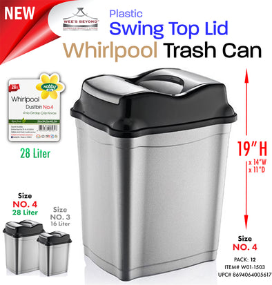 #W01-1503 Swing Top Dust Bin 28 Lt (case pack 12 pcs)