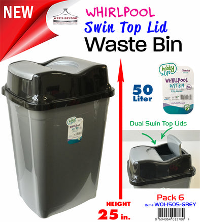 #W01-1505-GREY Swin Top Lid Waste Bin - Metal Grey (case pack 6 pcs)