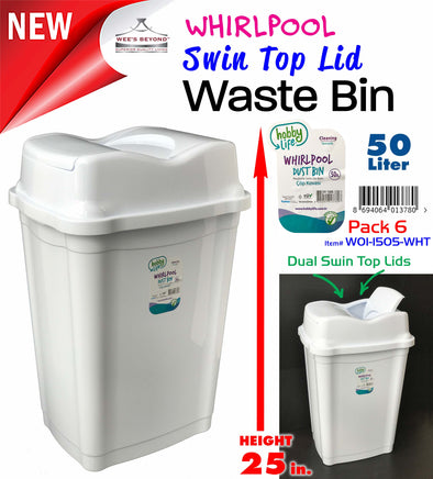 #W01-1505-WHT Swin Top Lid Waste Bin - White (case pack 6 pcs)