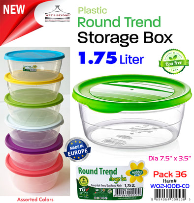 #W02-1008-CO Round 1.75 LT Storage Box (case pack 36 pcs)