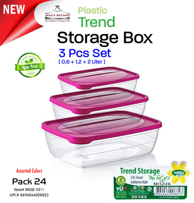 #W02-1011-CO Trend 3pc Storage Box Box Asst Color (case pack 24 pcs)