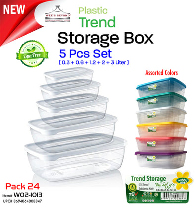 #W02-1013 Plastic Trend Storage Box 5pc Set (case pack 24 pcs)