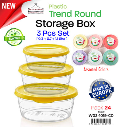 #W02-1019-CO Trend 3-pc Round Storage Box Asst Color (case pack 24 pcs)