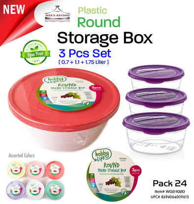 #W02-1020-CO 3-pc Round Storage Box Asst Color (case pack 24 pcs)