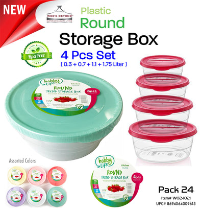 #W02-1021 Trend 4-pc Round Storage Box Asst Color (case pack 24 pcs)