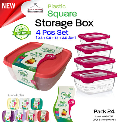 #W02-1037 Trend 4pc Square Storage Box Asst Color (case pack 24 pcs)