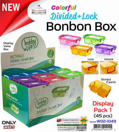 #W02-1049 Divided Color Bonbon Box 500 ml Display Pak (case pack 45 pcs)