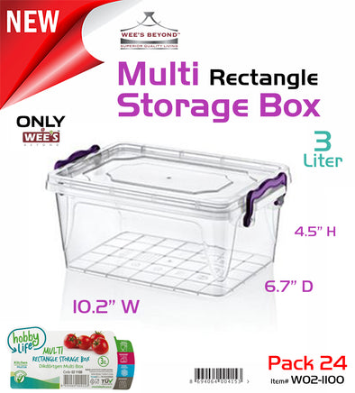 #W02-1100 Multi Rectangle 3 LT Storage Box (case pack 24 pcs)