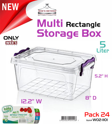 #W02-1101 Multi Rectangle 5 LT Storage Box (case pack 24 pcs)