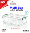#W02-1107 Multi Rectangle 30 LT Storage Box w/6 H-wheel & Handle-lock (case pack 6 pcs)