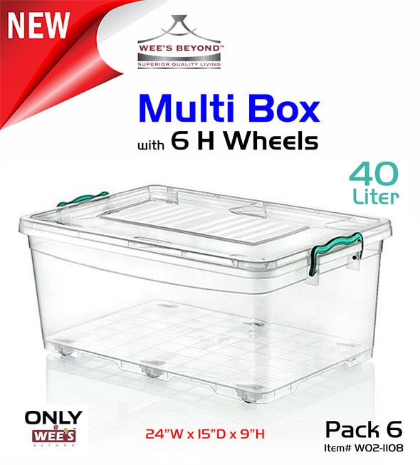 #W02-1108 Multi Rectangle 40 LT Storage Box w/6 H-wheel & Handle-lock (case pack 6 pcs)