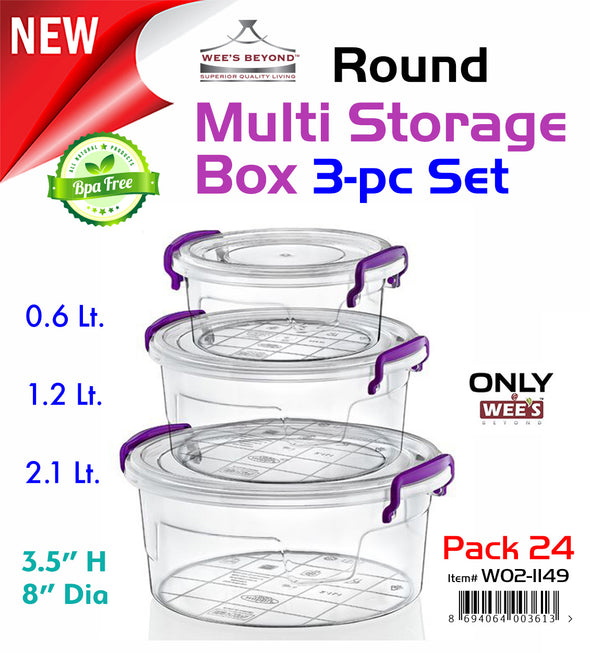 #W02-1149 Multi Rectangle Round Storage Box 3-pc Set (case pack 24 pcs)