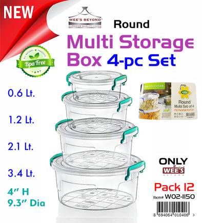 #W02-1150 Multi Rectangle Round Storage Box 4-pc Set (case pack 12 pcs)