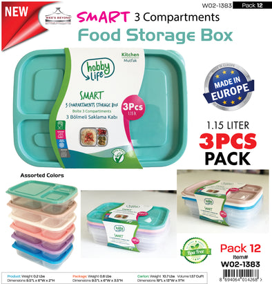 #W02-1383 Smart 3-Divided Food Storage Box 3 pcs Pack (case pack 12 pcs)