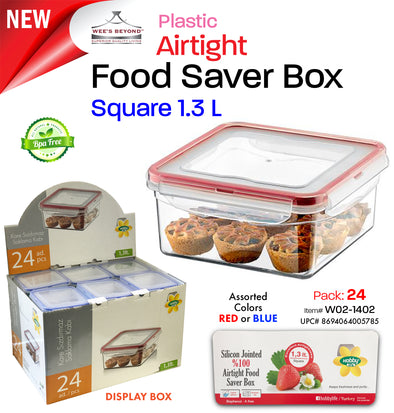 #W02-1402 Airtight Food Saver Square Box 1.3 L - Display Pack (case pack 24 pcs)