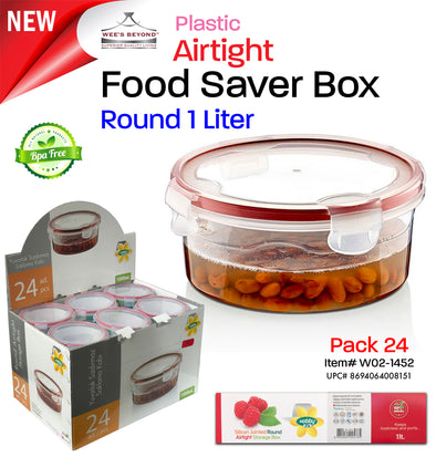 #W02-1452 Airtight Food Saver Round Box 1 LT - Display Pack (case pack 24 pcs)