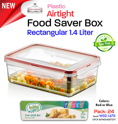 #W02-1470 Airtight Food Saver Rectangle Box 1.4 LT - Display Pack (case pack 24 pcs)