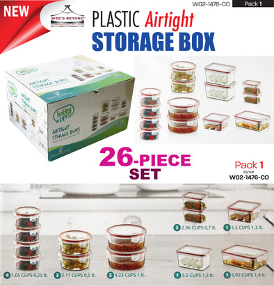 #W02-1476-CO Airtight Food Saver Storage Box 26-pc Set (case pack 1 pc)