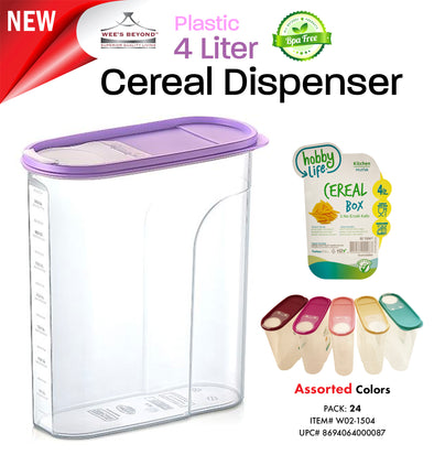 #W02-1504 Cereal Box 4 LT Dispenser Asst Colors (case pack 24 pcs)