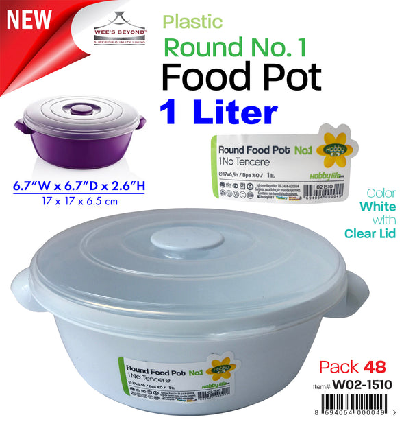 #W02-1510-CO Microwave Food Pot 1 LT Round No.1 (case pack 48 pcs)