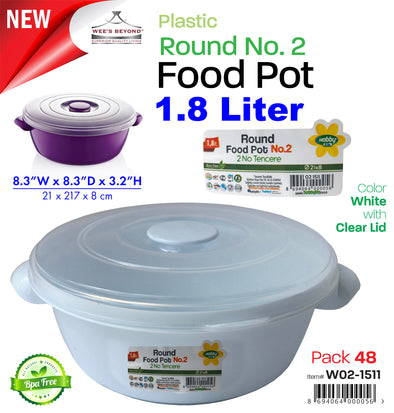 #W02-1511-CO Microwave Food Pot 1.5 LT Round No.2 (case pack 48 pcs)