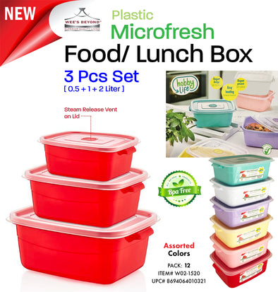 #W02-1520 Rectangle Storage Microfresh Pot 3-pc Set (case pack 12 pcs)