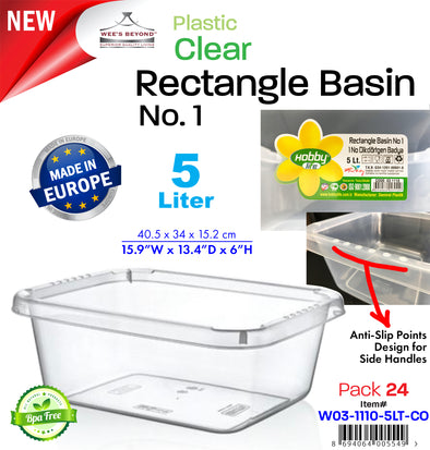 #W03-1110-5LT-CO Clear Rectangle Basin 5 Lt (case pack 24 pcs)