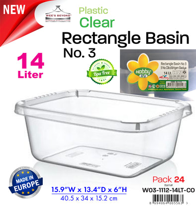 #W03-1112-14LT-CO Clear Rectangle Basin 14 Lt (case pack 24 pcs)