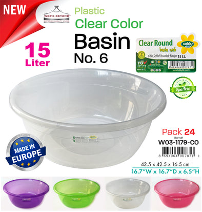 #W03-1179-CO Clear Color Basin 15 Lt (case pack 24 pcs)