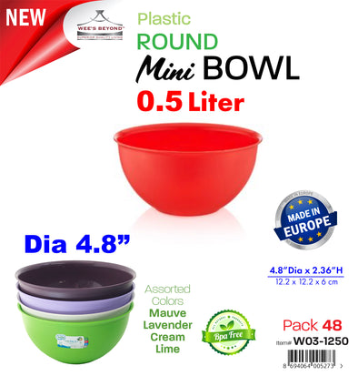 #W03-1250 Round Mini Bowl 0.5 Lt (case pack 48 pcs)