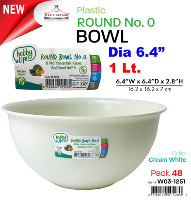 #W03-1251-CO Round Bowl 1 Lt (case pack 48 pcs)