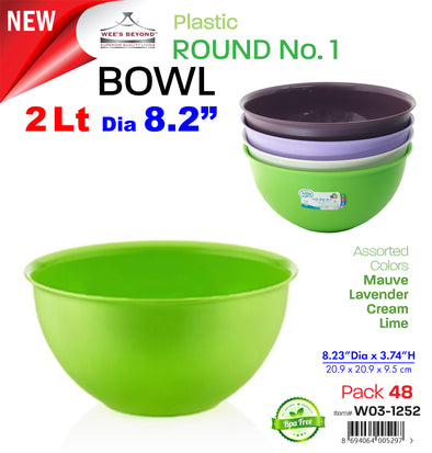 #W03-1252 Round Bowl 2 Lt (case pack 48 pcs)