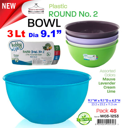 #W03-1253-CO Round Bowl 3 Lt (case pack 48 pcs)