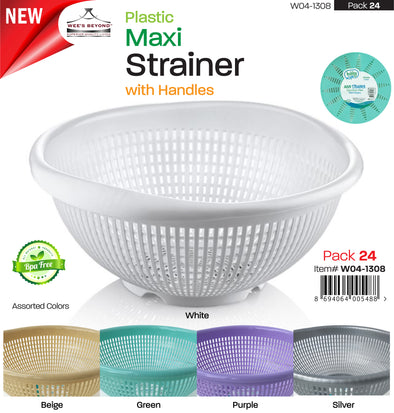 #W04-1308 Plastic Maxi Strainer Asst Colors (case pack 24 pcs)