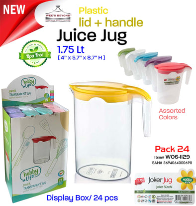 #W06-1129-CO Joker Juice Jug Plastic Pitcher 1.75 Lt (case pack 24 pcs)