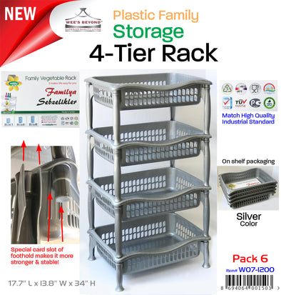#W07-1200-RACK Plastic Family Storage 4-Tier Rack (case pack 6 pcs)