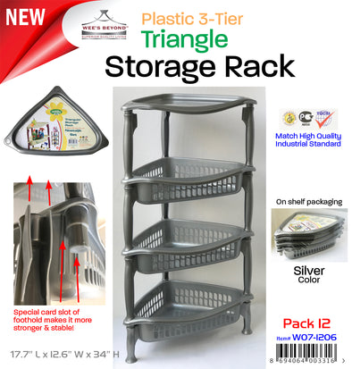 #W07-1206 Plastic Family Triangle Storage 4-Tier Rack (case pack 12 pcs)