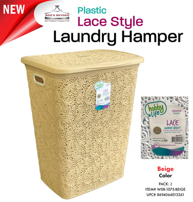 #W08-1075-D.IVY Lace Style Laundry Hamper 57 Liters - Dark Ivory (case pack 2 pcs)