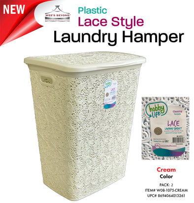 #W08-1075-IVY Lace Style Laundry Hamper 57 Liters - Ivory (case pack 2 pcs)