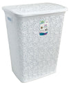#W08-1075-WH.WHT Lace Style Laundry Hamper 57 Liters - White White (case pack 2 pcs)