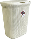 #W08-1076-IVY Knit Style Laundry Hamper 55 Liters - Ivory (case pack 2 pcs)