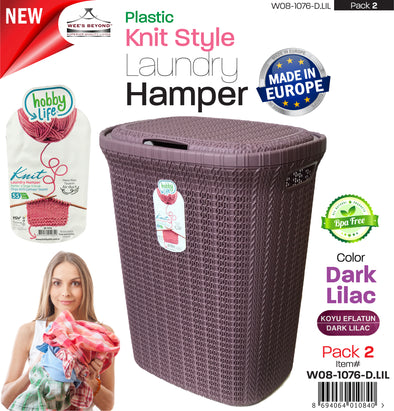 #W08-1076-DK.LLC Knit Style Laundry Hamper 55 Liters - Dark Lilac (case pack 2 pcs)