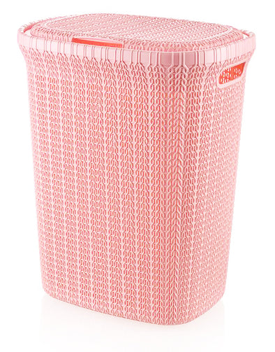 #W08-1076-PS.PNK Knit Style Laundry Hamper 55 Liters - Pastel Pink (case pack 2 pcs)