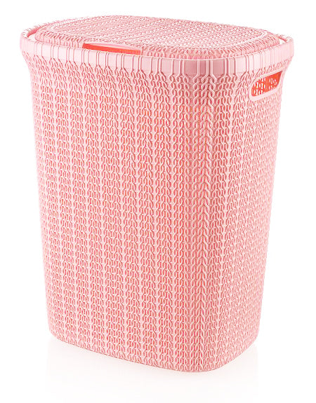 W08 1076 Ps Pnk Knit Style Laundry Hamper 55 Liters